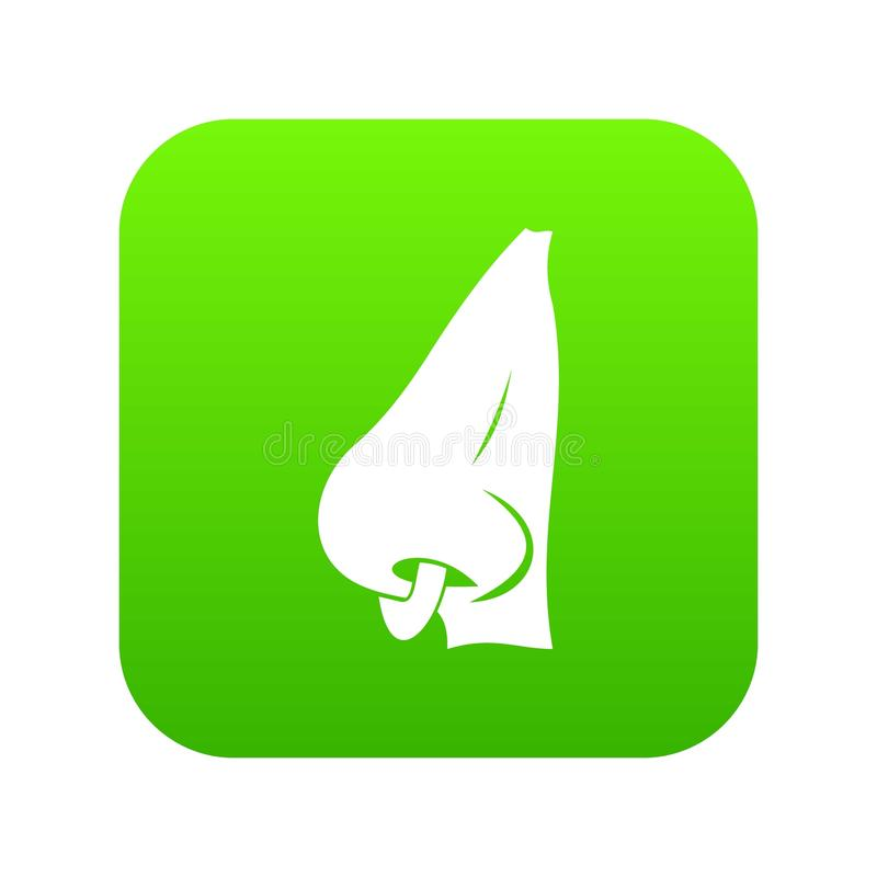 Human nose with piercing icon digital green royalty free illustration