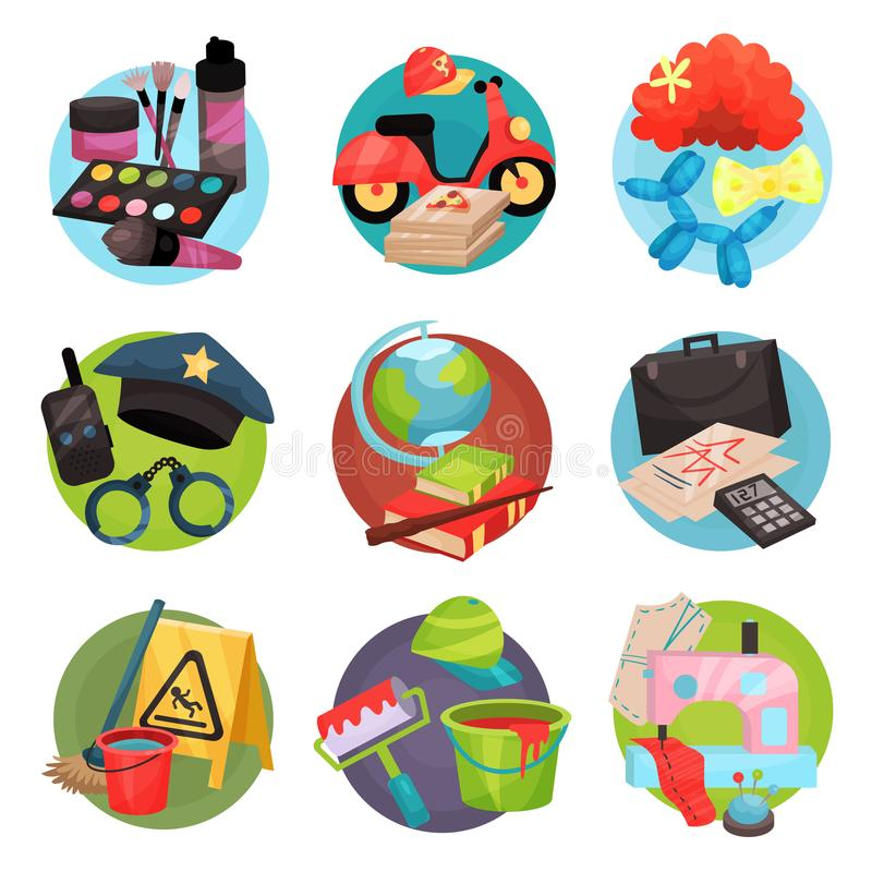 Human occupation icons set, symbols of different professions cartoon vector Illustrations royalty free illustration