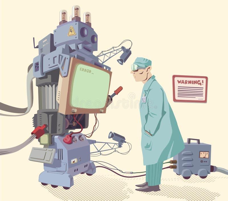 Human och maskinen stock illustrationer