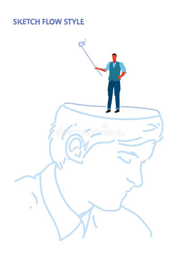 Human open head businessman holding selfie stick taking picture on smartphone camera creative imagination idea concept vector illustration