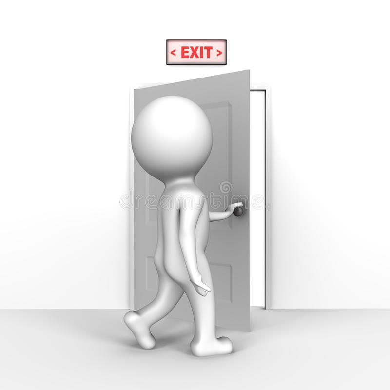 Human opening the exit door - a 3d image stock illustration