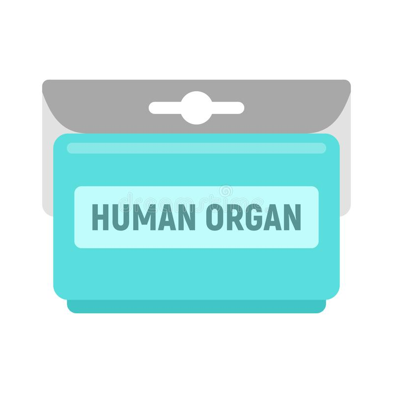 Human organ pack icon, flat style. Human organ pack icon. Flat illustration of human organ pack vector icon for web design stock illustration