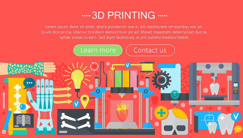 Human organs 3d printer technology flat concept set. 3d printing medicine. Web header banner. stock illustration