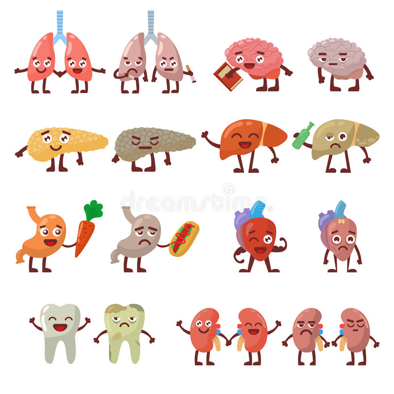 human organs healthy and unhealthy characters vector set