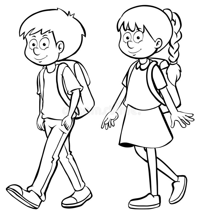 outline of a boy and girl coloring pages human outline for boy and girl stock illustration