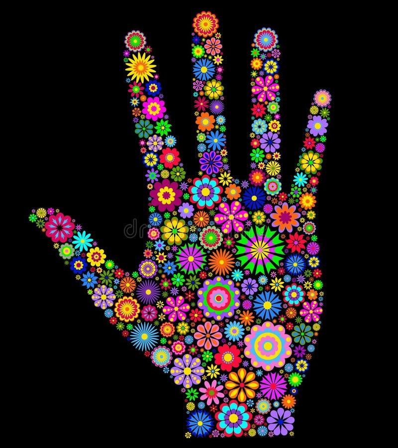 Human palm on black background royalty free illustration
