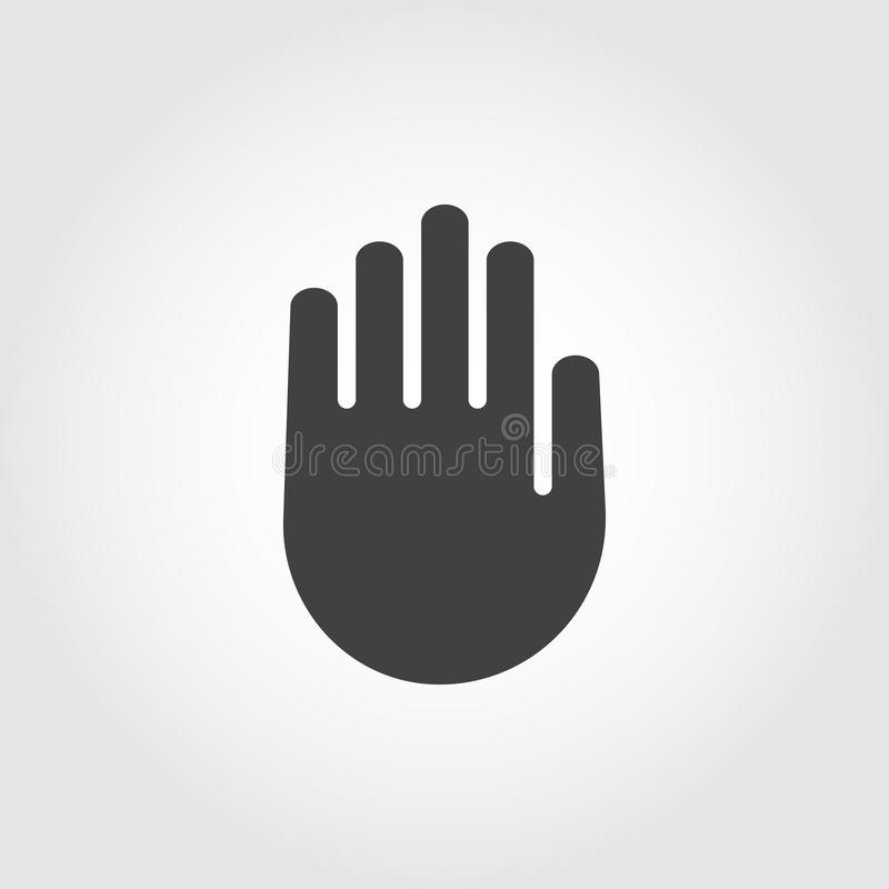 Human palm black flat icon. Symbol of stop sign, warning, lock. Web graphic hand pointing label. Vector illustration for websites, mobile apps, games and other stock illustration