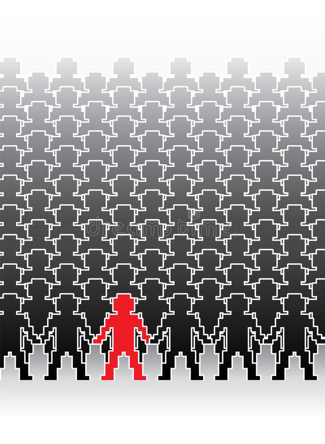 Human Pixel Figures Stock Photo