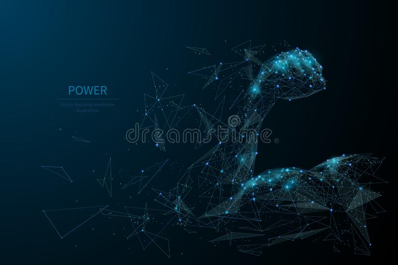 Human power low poly wireframe banner template royalty free illustration