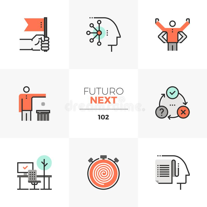 Human Productivity Futuro Next Icons. Modern flat icons set of individual productivity, business person goals. Unique color flat graphics elements with stroke royalty free illustration