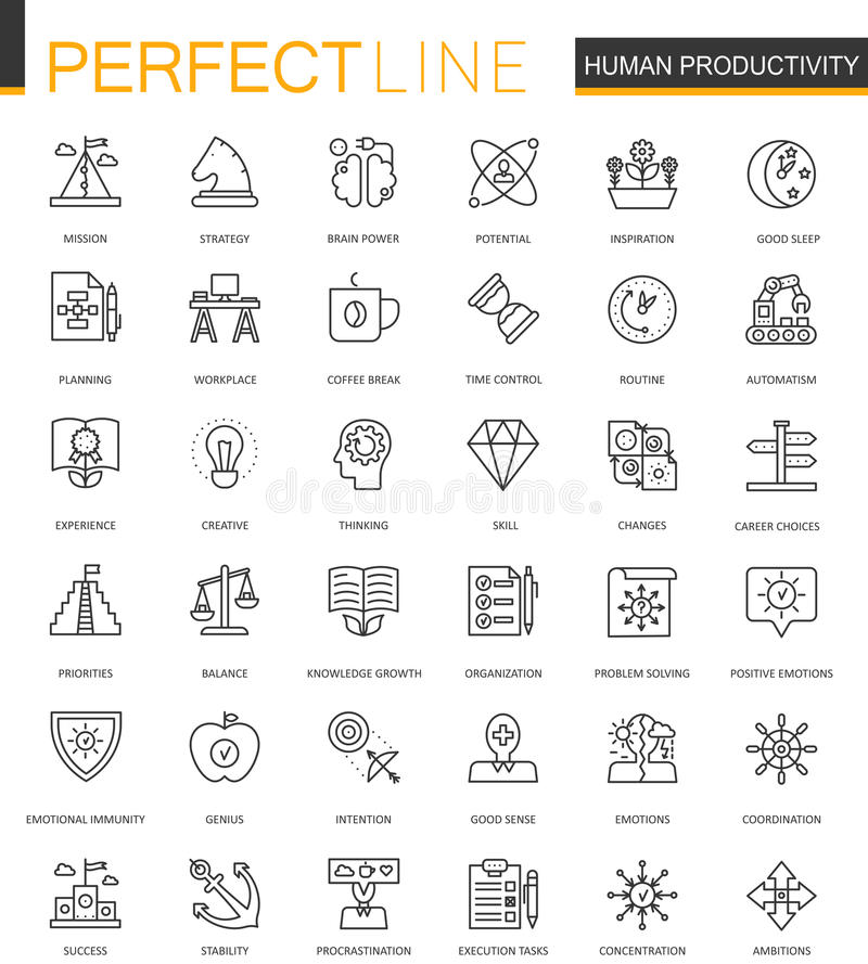 Human productivity thin line web icons set. Task concentration outline stroke icons design. Human productivity thin line web icons set. Task concentration royalty free illustration