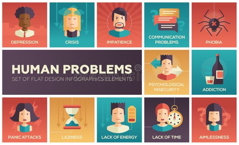 Human psychological problems- flat design icons set. Set of modern vector flat design icons and pictograms of common human psychological problems. Crisis vector illustration