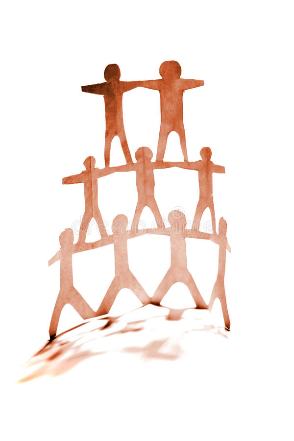 Human pyramid. Team on white background stock image