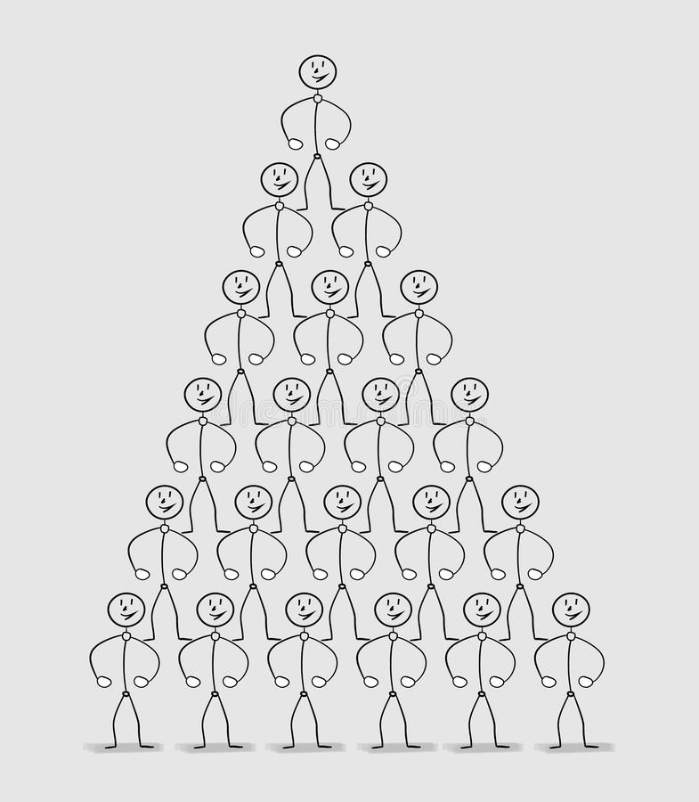 Human pyramid. Many strong people standing on the shoulders of the others royalty free illustration