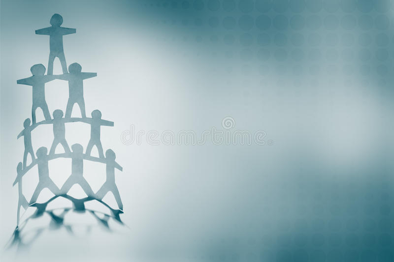 Human pyramid. Human team pyramid on blue background royalty free stock image