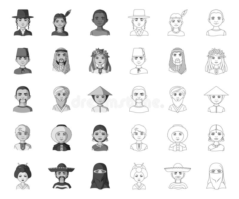 The human race mono,outline icons in set collection for design. People and nationality vector symbol stock web. The human race mono,outline icons in set stock illustration