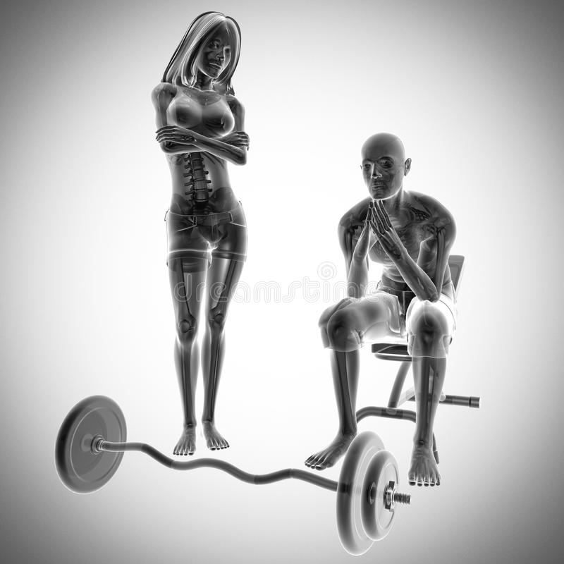 Human radiography in gym room royalty free stock images
