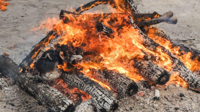 Funeral pyre,burning at Swargadwar crematorium in Puri,Odisha state, India royalty free stock photography
