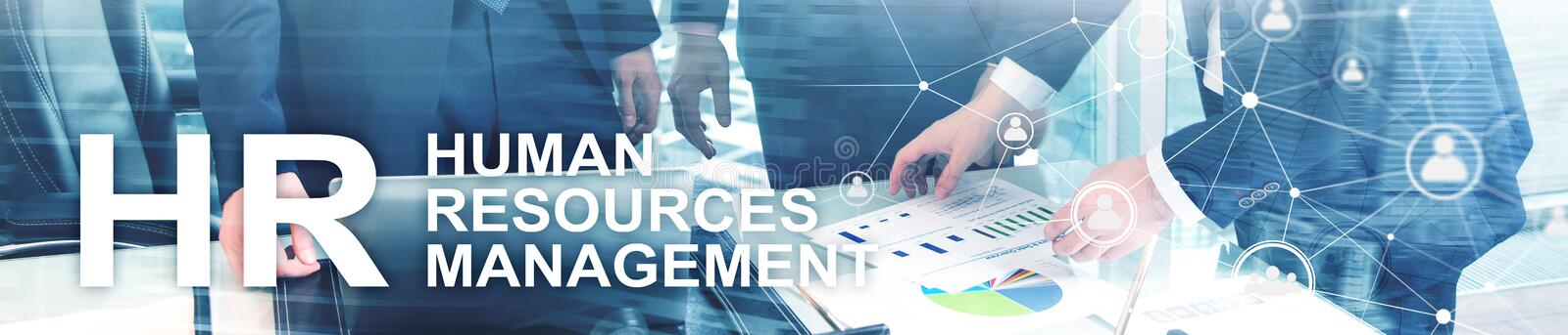 Human resource management, HR, Team Building and recruitment concept on blurred background. Website header banner royalty free stock photo
