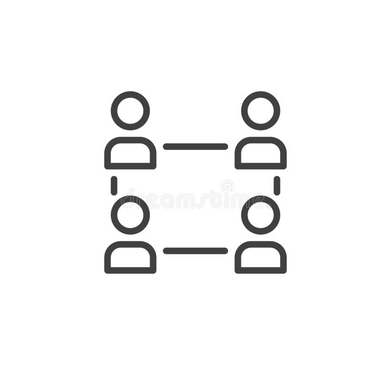 Human resource and management line icon stock illustration