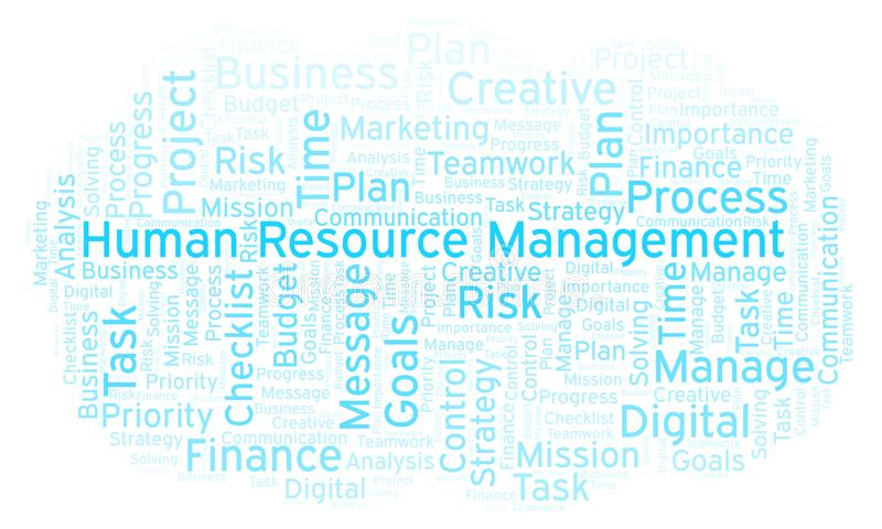 Human Resource Management word cloud, made with text only. stock illustration