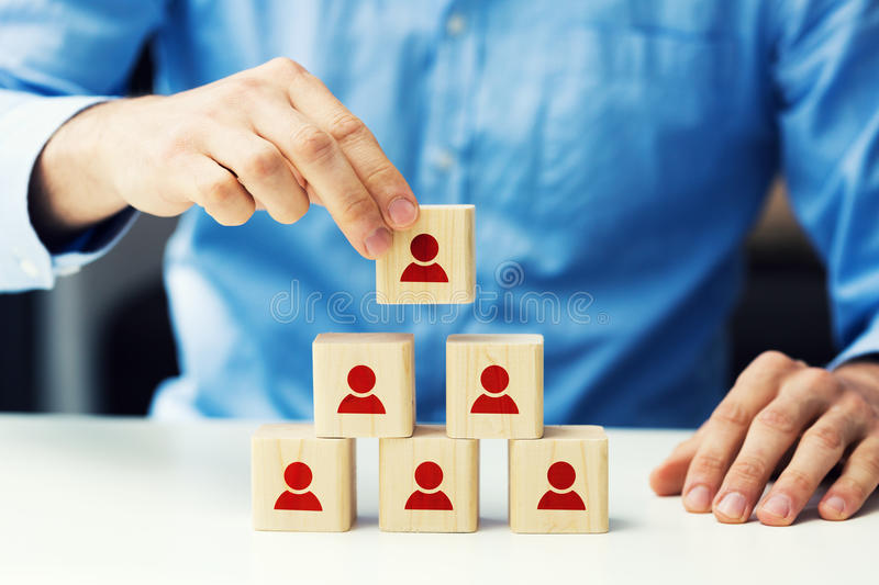 Human resources and business hierarchy concept. Concept of human resources and business hierarchy stock photography
