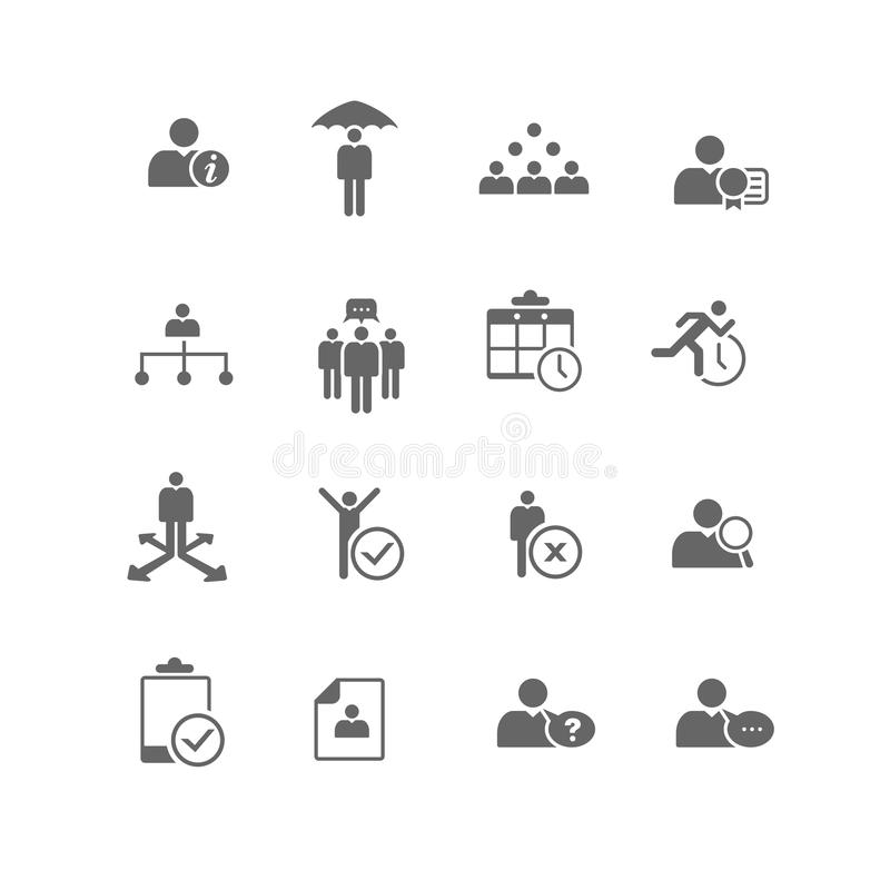 Human Resources Business Management Icon Set. Set of 16 human resources and business management icons. Sliced for PNG stock illustration