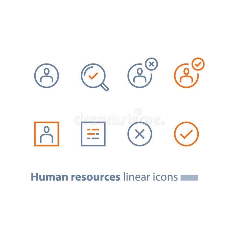 Human resources, choose candidate, recruitment service, fill vacancy, employment concept, application form review, staff search. Recruitment service, human stock illustration