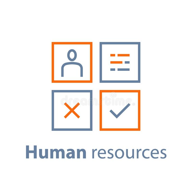 Human resources, choose candidate, recruitment service, fill vacancy, employment concept. Recruitment service, human resources,  choose candidate, fill vacancy stock illustration