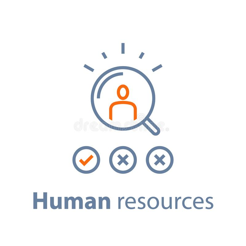 Human resources, choose candidate, recruitment service, fill vacancy, employment concept. Recruitment service, human resources,  choose candidate, fill vacancy vector illustration