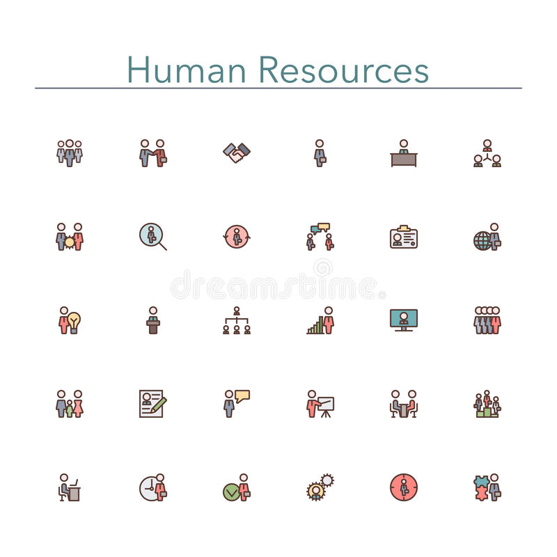 Human Resources Colored Line Icons vector illustration
