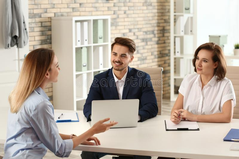 Human resources commission conducting job interview. With applicant in office royalty free stock photos