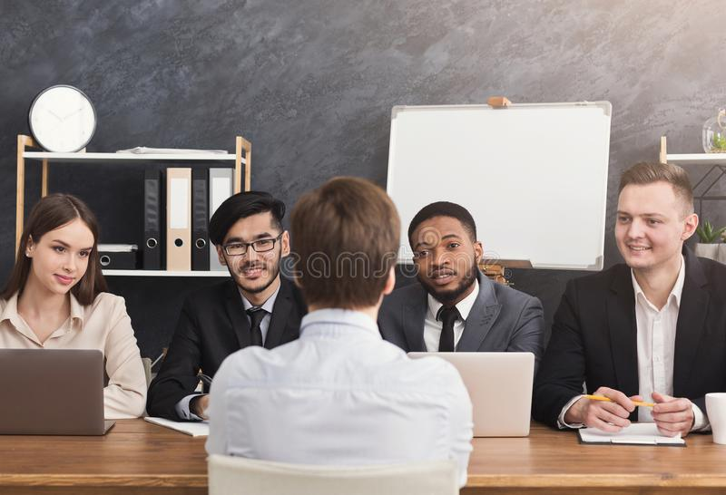 Human resources commission interviewing woman royalty free stock photos