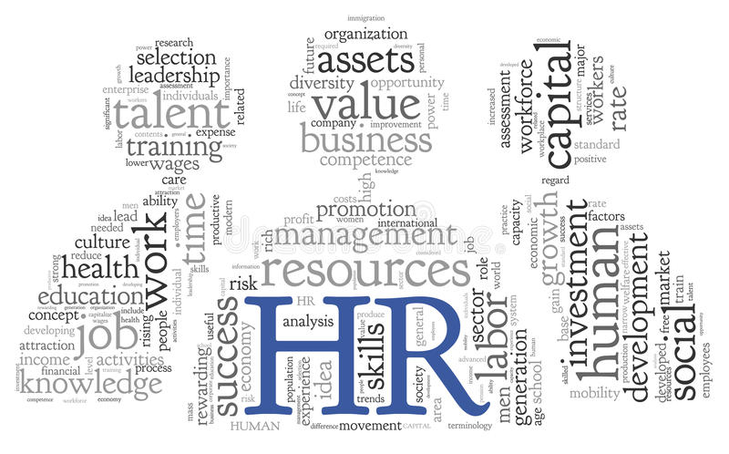 Human resources concept in tag cloud royalty free illustration
