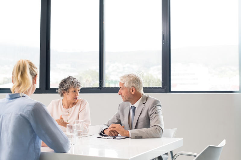 Human resources conducting interview stock images