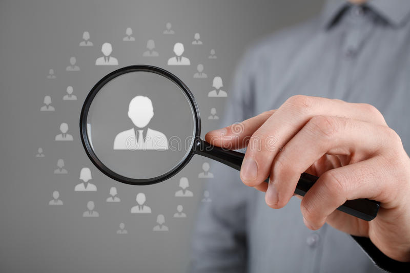 Human resources and CRM. Human resources, CRM, data mining, assessment center and social media concept - officer looking for employee represented by icon. Gender