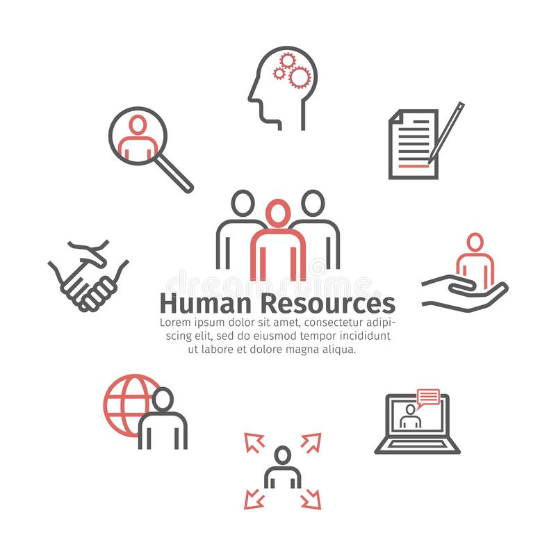 Human Resources Department. Round banner. Line icons. Vector sign for web graphics. stock illustration