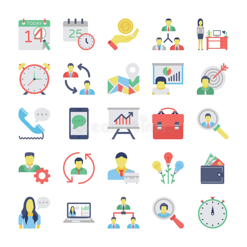 Human Resources Flat Colored Icons Set 2. Get your next human resource icons that you can use in your project related business, human management and vector illustration