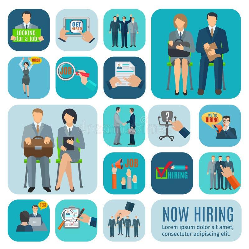Human resources hiring flat icons set royalty free illustration