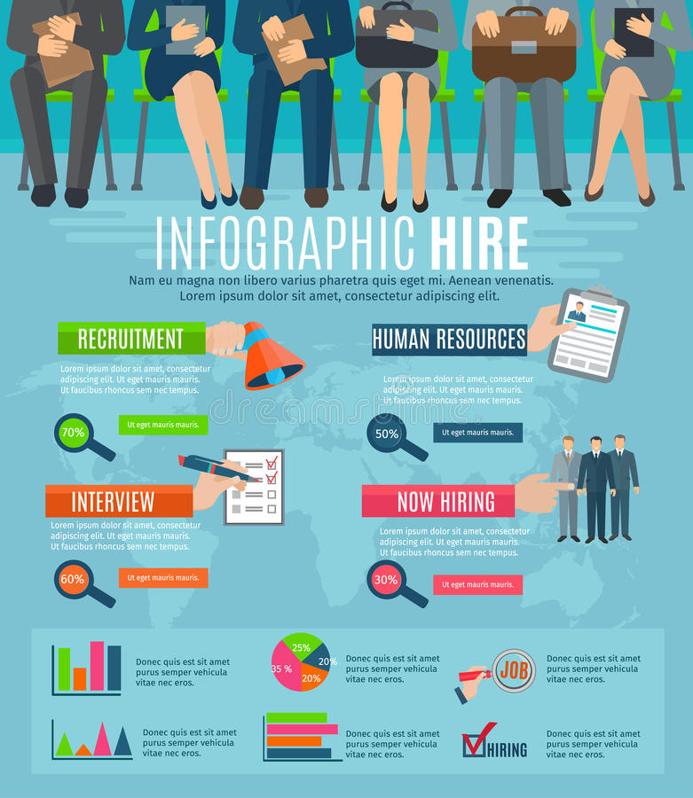 Human resources hiring people infographic report vector illustration