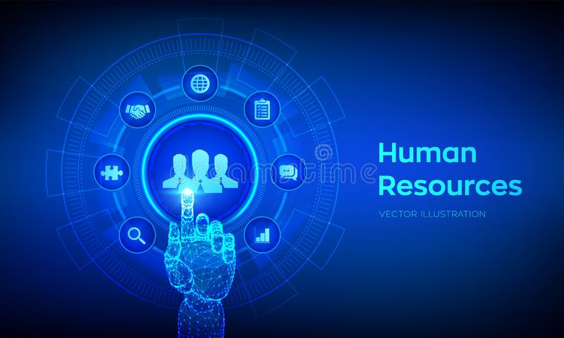 Human Resources. HR management, recruitment, employment, headhunting business concept. Human social network and leadership. vector illustration