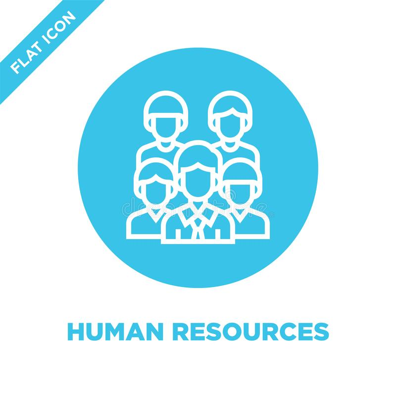 human resources icon vector. Thin line human resources outline icon vector illustration.human resources symbol for use on web and vector illustration