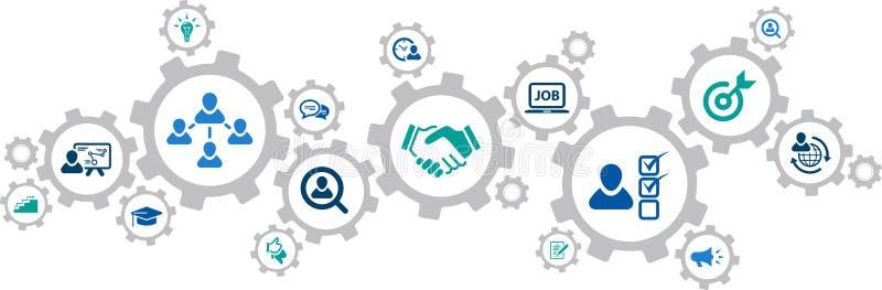 Human resources icons concept – recruitment, teamwork, career: vector illustration stock illustration