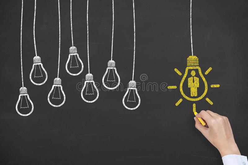 Human Resources Idea Concept Bulb on Screen royalty free stock photo