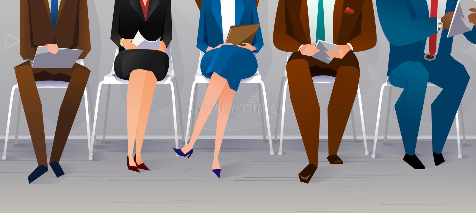 Human resources interview recruitment. Job concept. People sitting on the chairs at the office. Vector illustration stock illustration