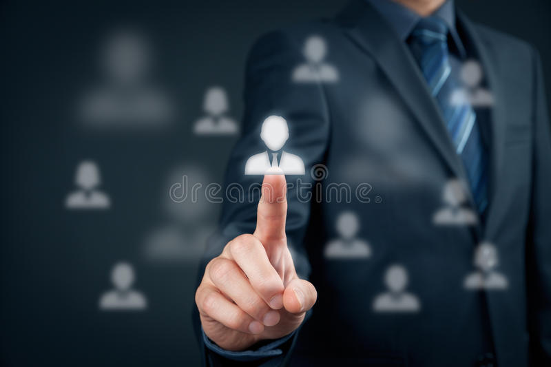 Human resources and leader. Human resources officer choose employee standing out of the crowd. Select team leader concept. Marketing customer targeting concept stock photography