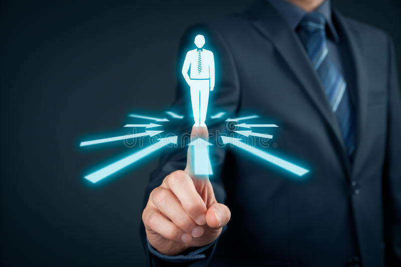 Human resources and leader. Human resources officer choose employee or team leader (CEO). Individual customer marketing and personalization concept stock images