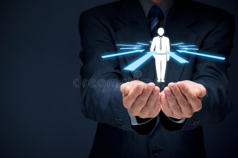 Human resources and leader. Human resources officer choose employee or team leader (CEO). Individual customer marketing and personalization concept royalty free stock photography