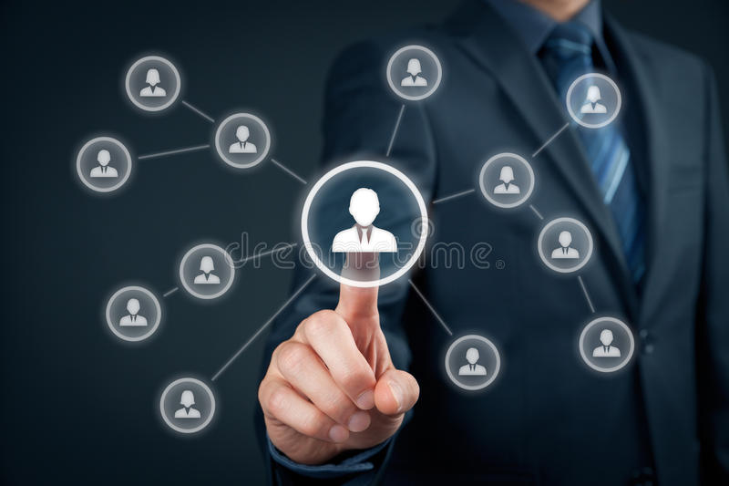 Human resources and leader. Human resources officer select employee or team leader (CEO). Individual customer marketing and personalization concept stock photography