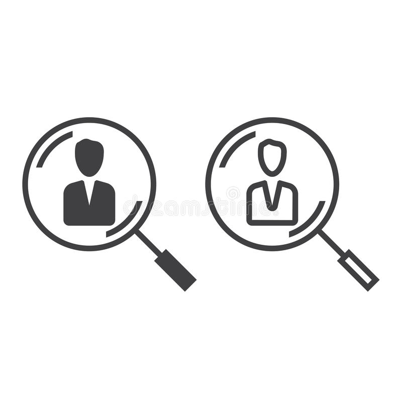 Human resources line icon, hr outline and solid vector sign stock illustration